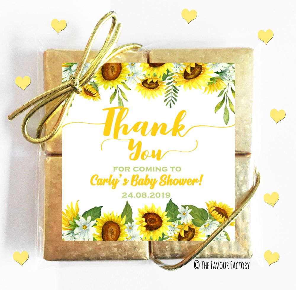 Sunflowers Baby Shower Chocolates Quads