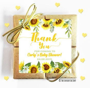 Baby Shower Chocolates Quads Favours Sunflowers x5