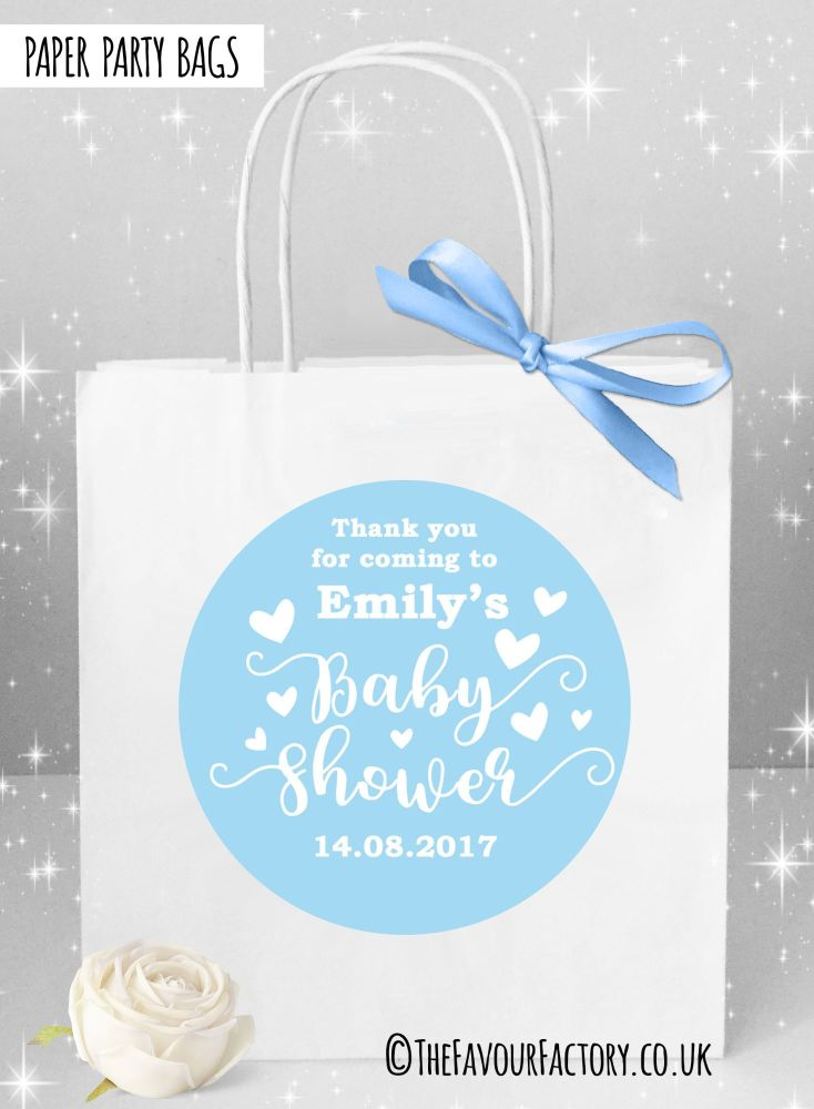 Baby Shower Party Bags Love Hearts Blue x1