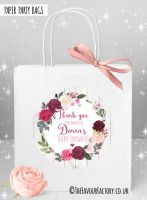 Baby Shower Party Bags Burgundy Blush Florals x1