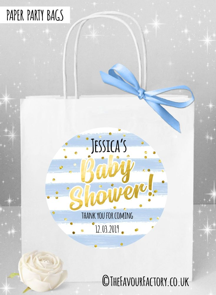 Baby Shower Party Bags Confetti Stripes Blue x1