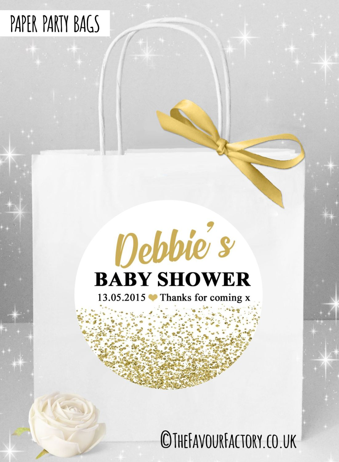Personalised Baby Shower Party Bags Gold Glitter Confetti