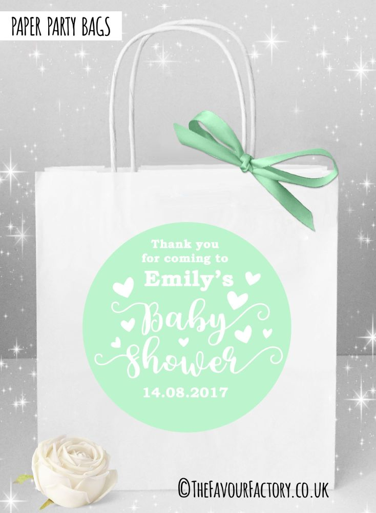 Baby Shower Party Bags Love Hearts Mint x1