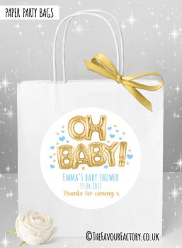 Baby Shower Party Bags Oh Baby Gold and Blue x1