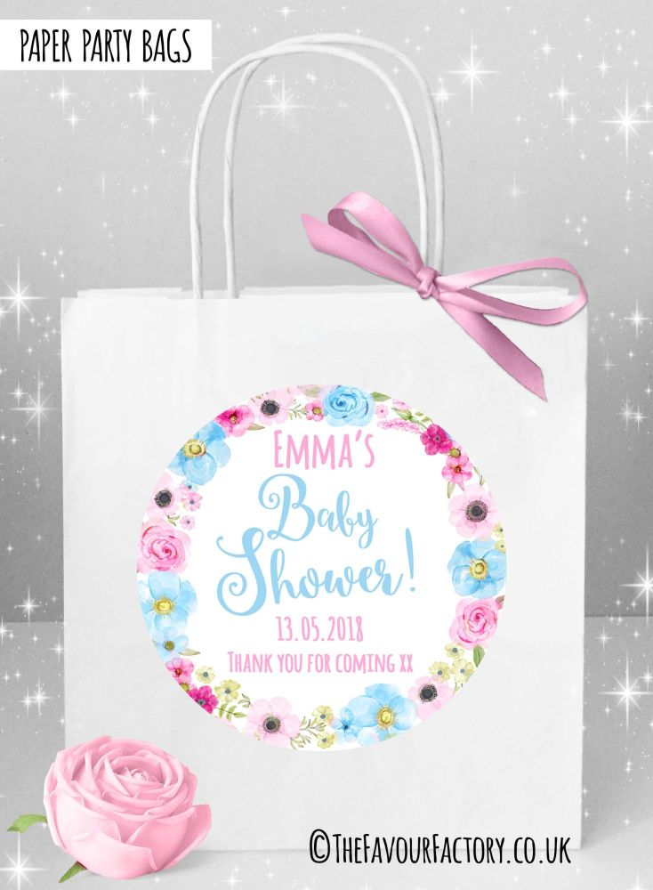 Baby Shower Party Bags Pink and Blue Floral Wreath x1