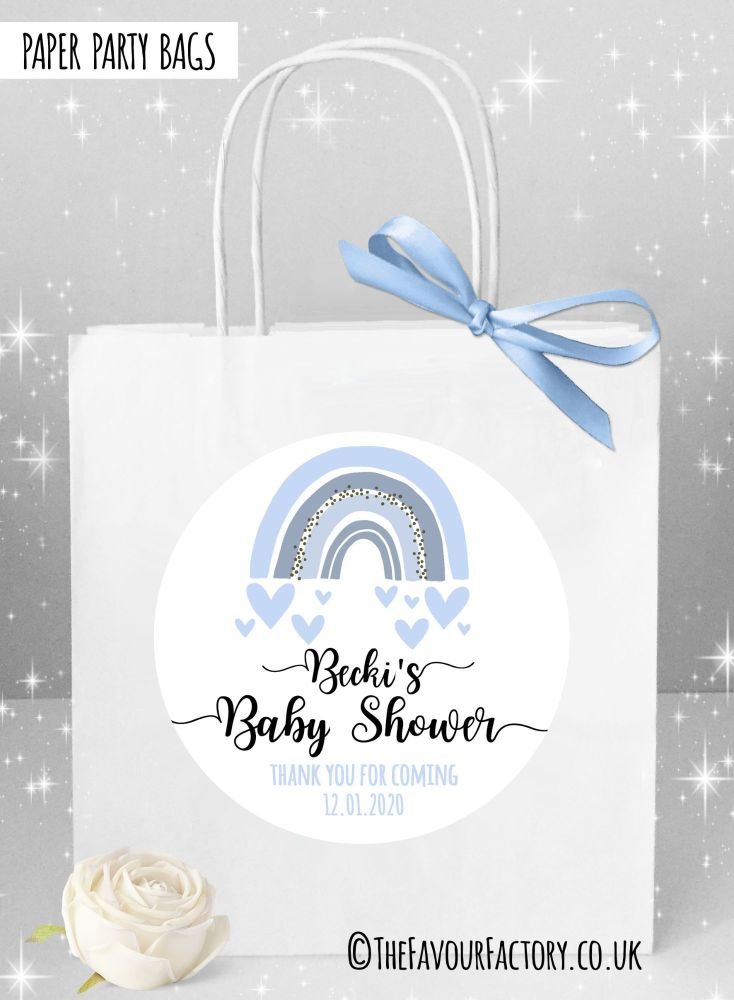 Baby Shower Party Bags Rainbow Blue x1