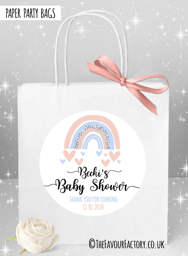 Baby Shower Party Bags Rainbow Pink and Blue x1