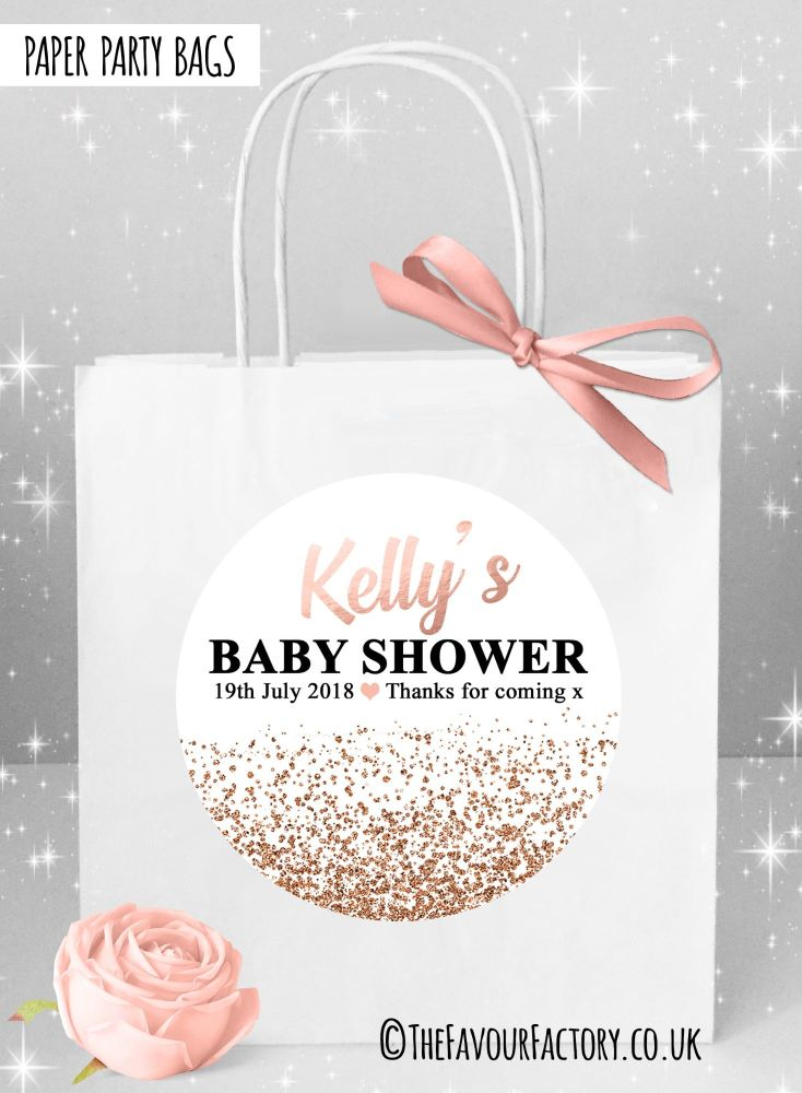Baby Shower Party Bags Glitter Confetti Rose Gold x1