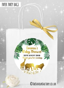 Baby Shower Party Bags Gold Safari Animals x1