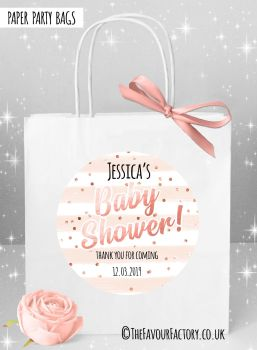 Baby Shower Party Bags Confetti Stripes Rose Gold x1
