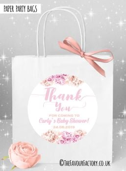 Baby Shower Party Bags Thank Your Floral Pinks x1