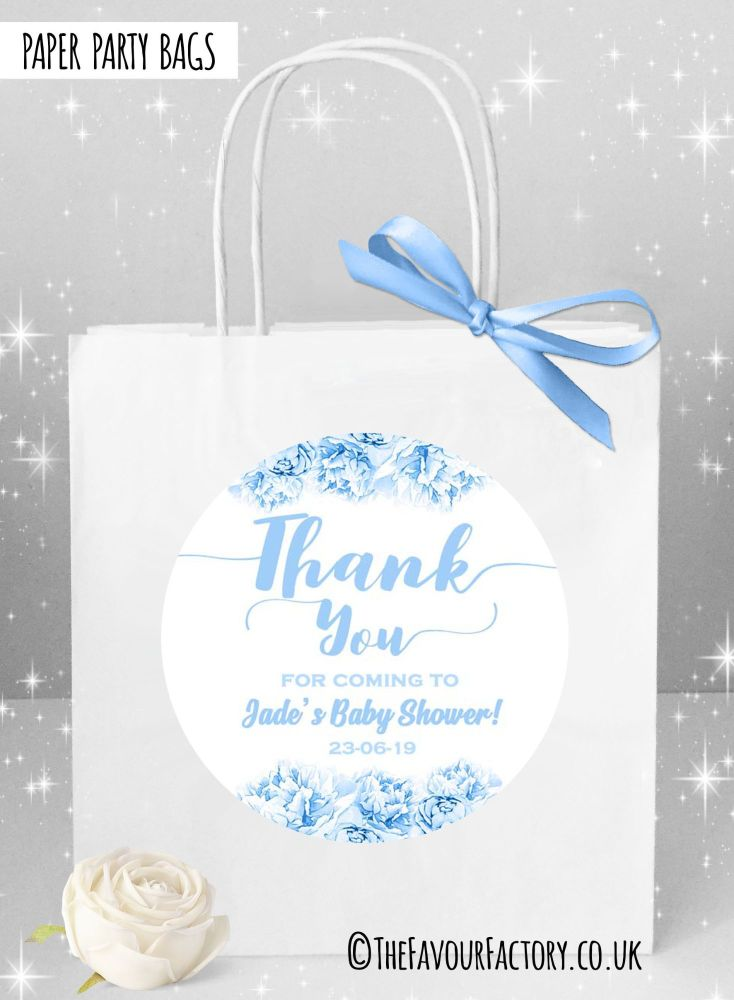 Baby Shower Party Bags Thank You Floral Blue x1
