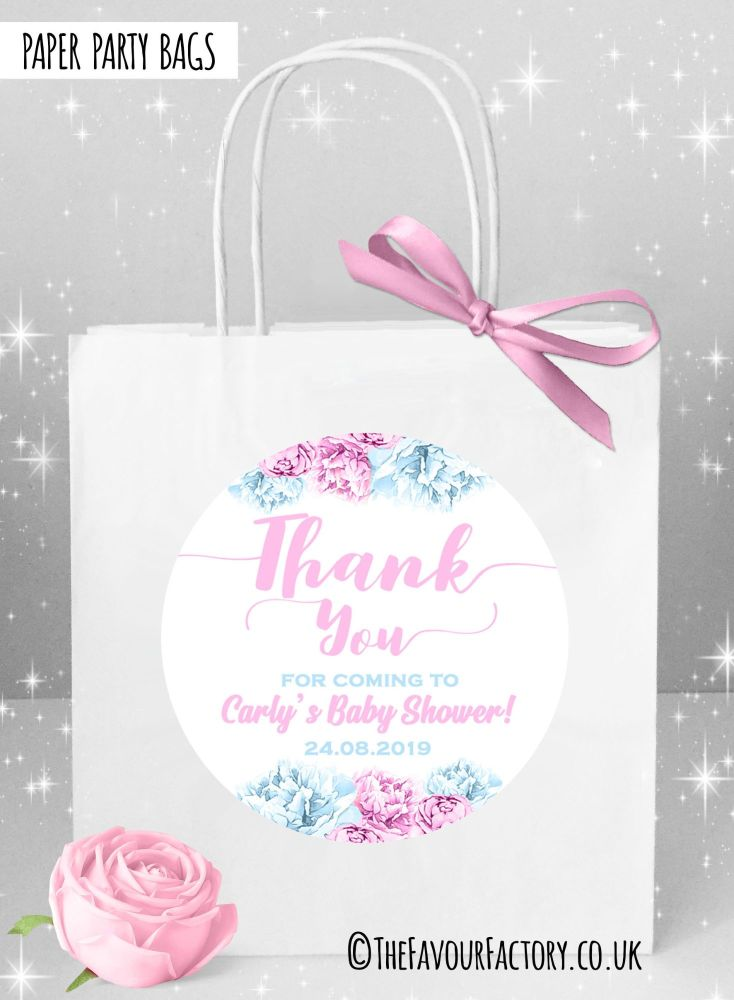 Baby Shower Party Bags Thank You Floral Pink & Blue x1