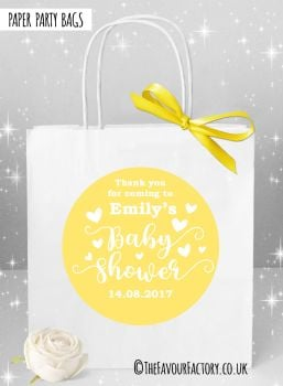Baby Shower Party Bags Love Hearts Yellow x1