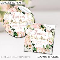 Personalised Baby Shower Stickers Blush Hydrangeas