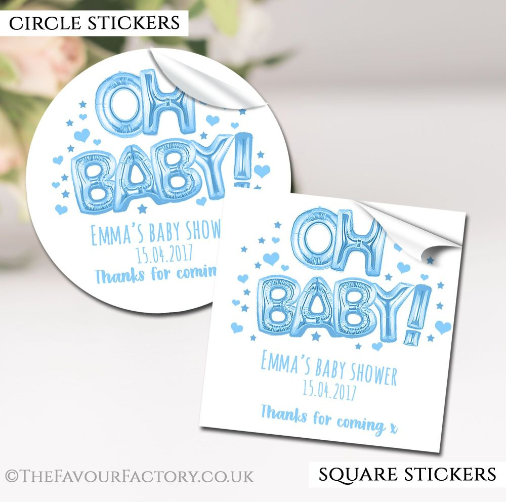 Blue Oh Baby Balloons Baby Shower Stickers