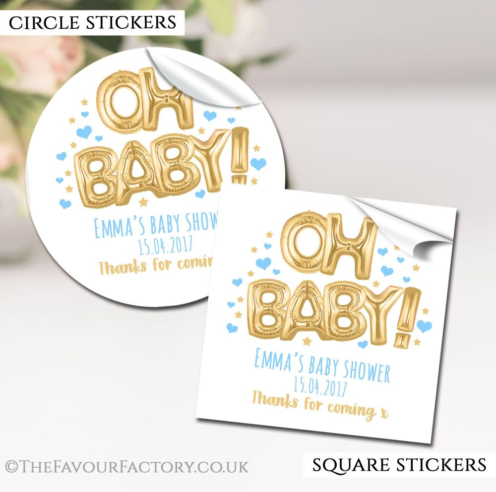 Gold And Blue Oh Baby Balloons Baby Shower Stickers