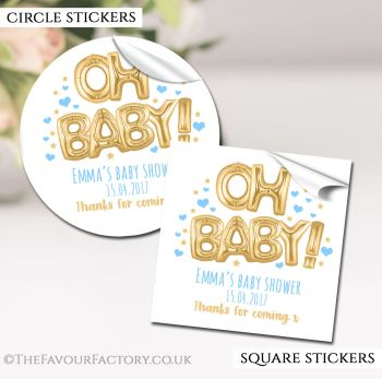 Baby Shower Stickers Personalised Oh Baby Gold & Blue