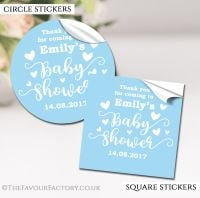 Personalised Baby Shower Stickers Blue Love Hearts