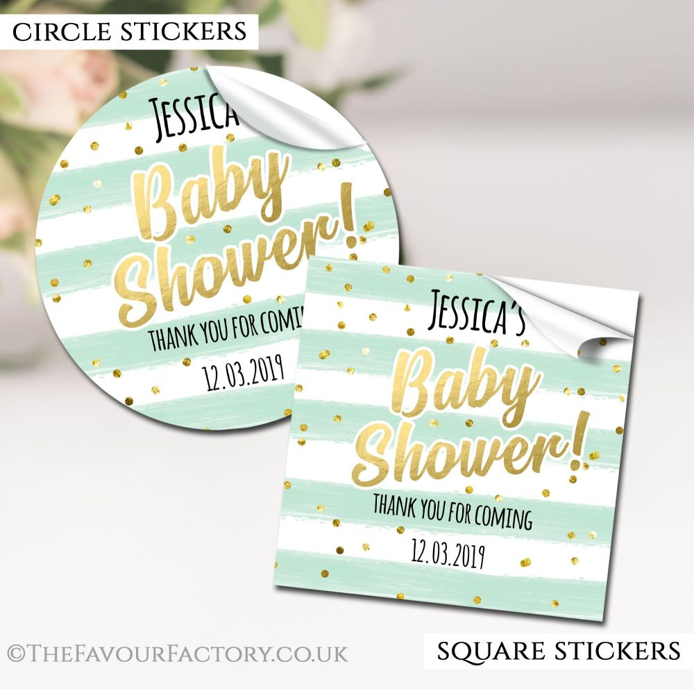 Mint Confetti Stripes Baby Shower Stickers