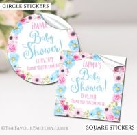 Personalised Baby Shower Stickers Pink And Blue Floral Wreath