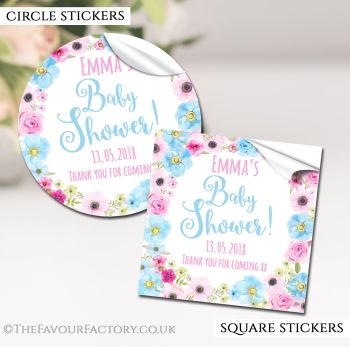Baby Shower Stickers Personalised Pink & Blue Floral Wreath