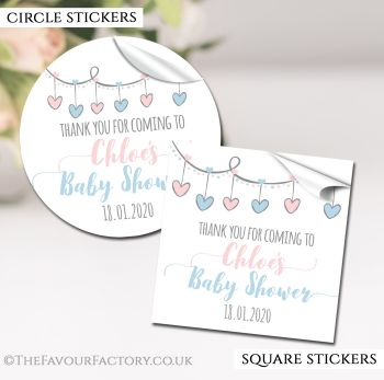 Baby Shower Stickers Personalised Hearts Garland Pink & Blue