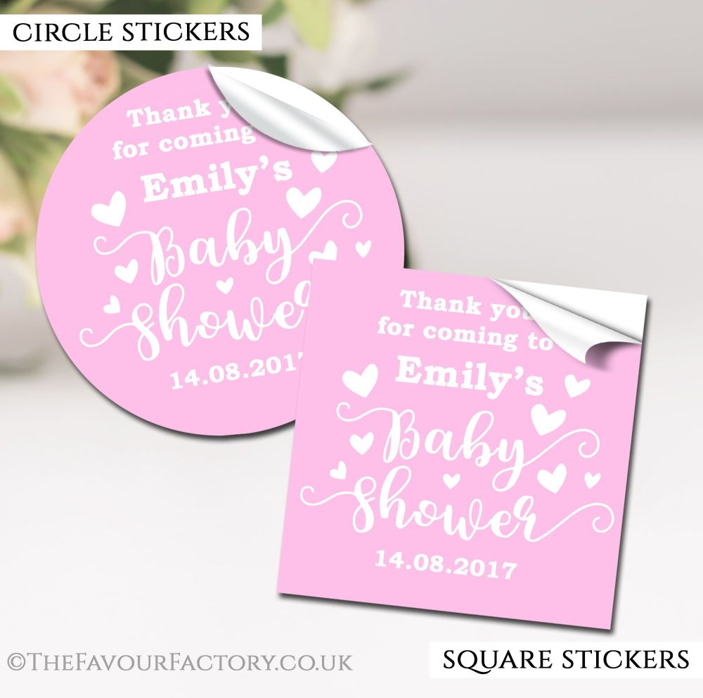 Pink Love Hearts Baby Shower Stickers