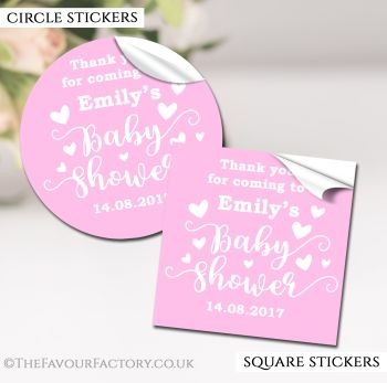 Baby Shower Stickers Personalised Love Hearts Pink