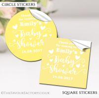 Yellow Love Hearts Baby Shower Stickers
