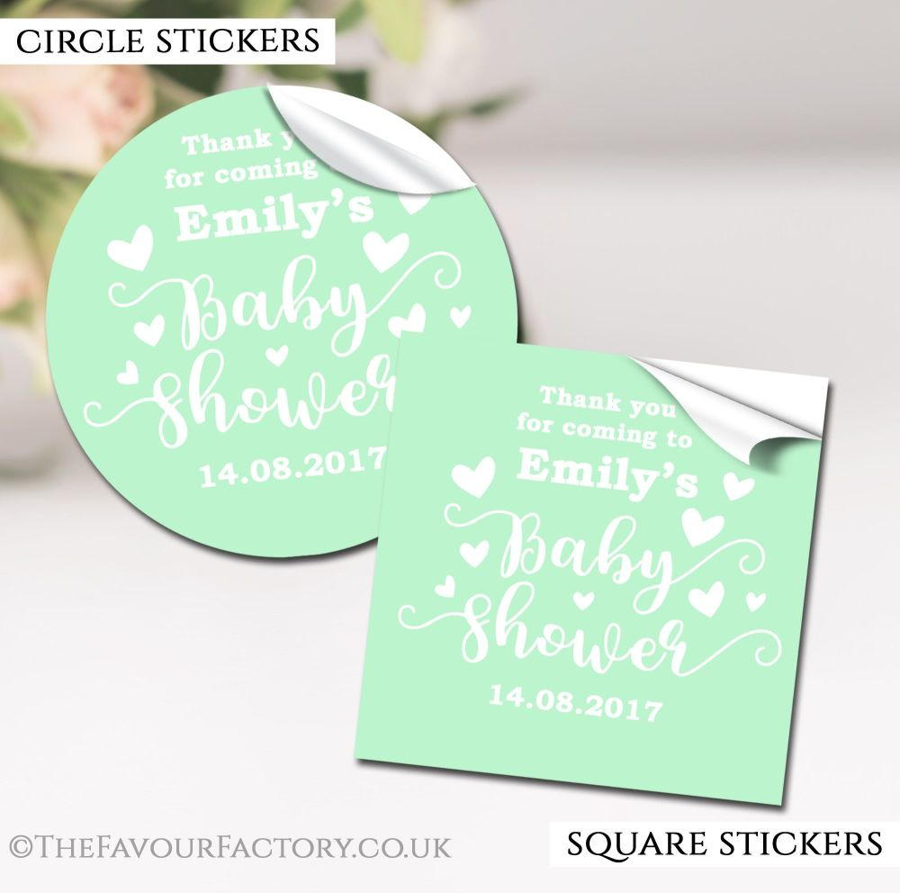 Mint Love Hearts Baby Shower Stickers