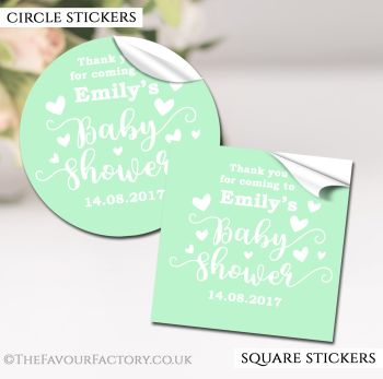 Baby Shower Stickers Personalised Love Hearts Green