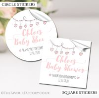 Personalised Baby Shower Stickers Pink Hearts Garland
