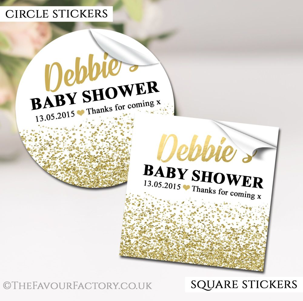 Gold Glitter Confetti Baby Shower Stickers