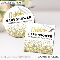 Personalised Baby Shower Stickers Gold Glitter Confetti