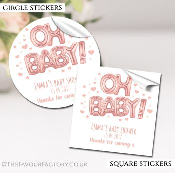 Baby Shower Stickers Personalised Oh Baby Rose Gold