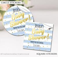 Personalised Baby Shower Stickers Blue Confetti Stripes