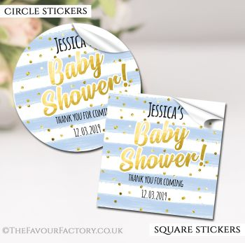 Baby Shower Stickers Personalised Confetti Stripes Blue