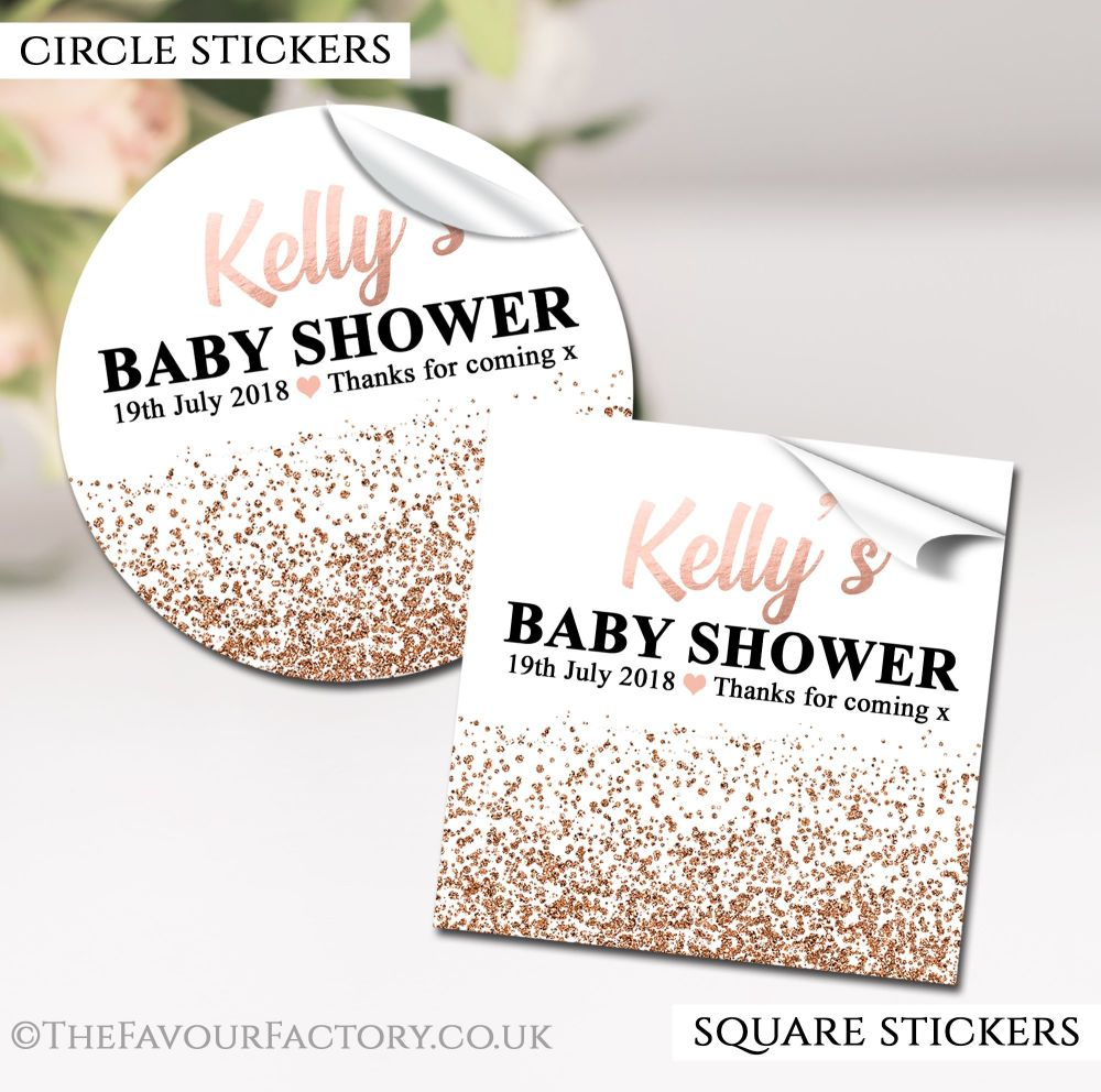 Rose Gold Glitter Confetti Baby Shower Stickers