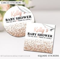 Personalised Baby Shower Stickers Rose Gold Glitter Confetti