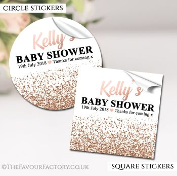 Baby Shower Stickers Personalised Glitter Confetti Rose Gold