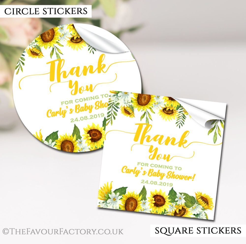 Sunflowers Baby Shower Stickers