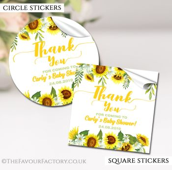Baby Shower Stickers Personalised Sunflowers