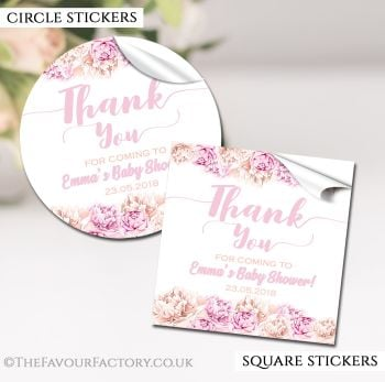 Baby Shower Stickers Personalised Thank You Florals Pinks