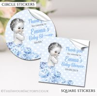 Personalised Baby Shower Stickers Vintage Baby Boy
