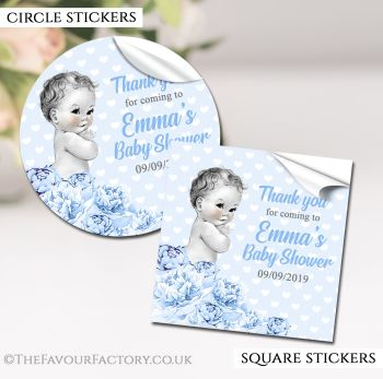 Baby Shower Stickers Personalised Vintage Baby Boy