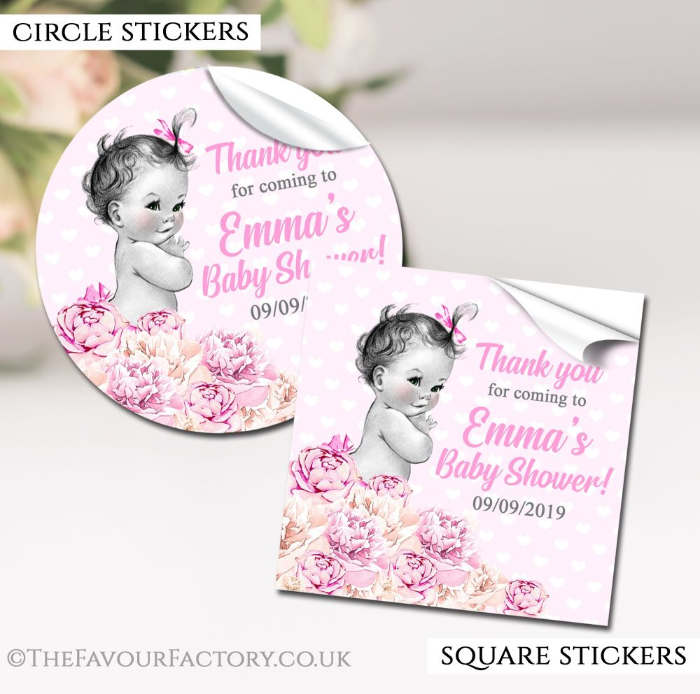 Vintage Baby Girl Baby Shower Stickers