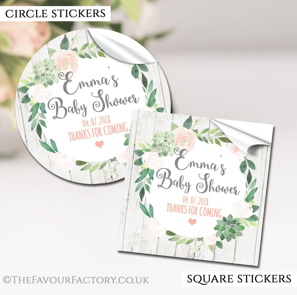 Succulents Baby Shower Stickers