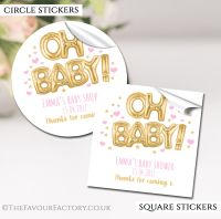 Gold And Pink Oh Baby Balloons Baby Shower Stickers