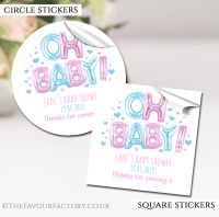 Pink And Blue Oh Baby Balloons Baby Shower Stickers